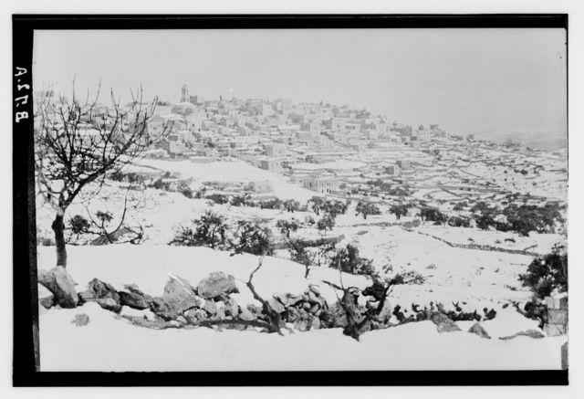Bethlehem and surroundings. Bethlehem in snow