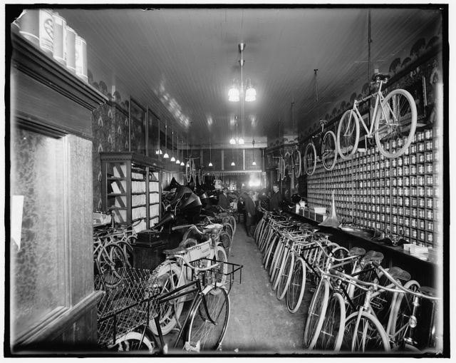 [Bicycle shop, possibly Detroit, Michigan]