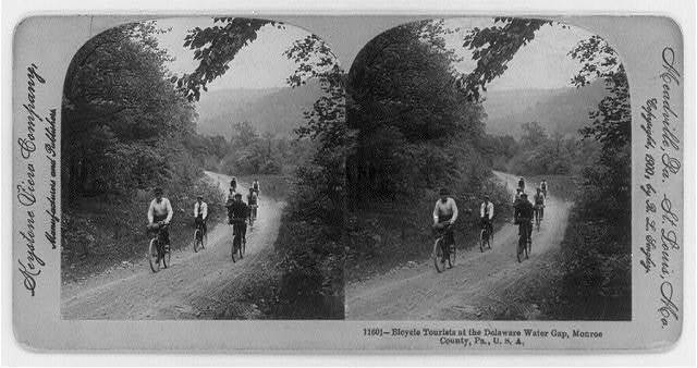 Bicycle Tourists [7 men] at the Delaware Water Gap, Monroe County, Pa.