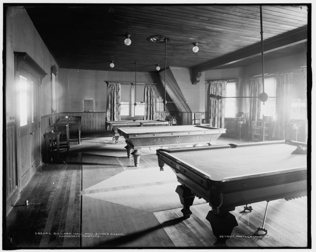 Billiard hall, Paul Smith's casino, Adirondack Mountains