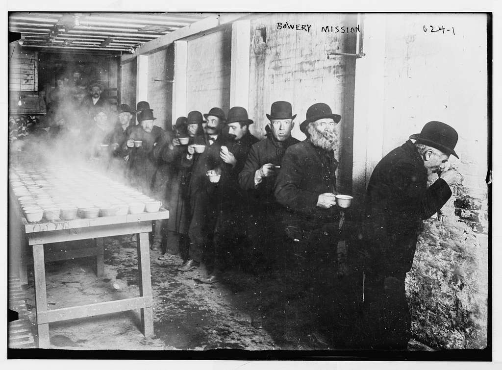 Bowery Mission men lined up to receive food, New York