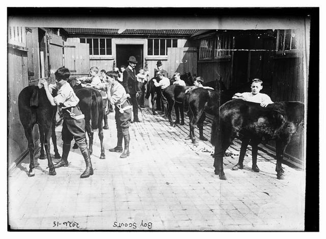 Boy Scouts.  Grooming their horses. Same shot as LC-B2-2026-14