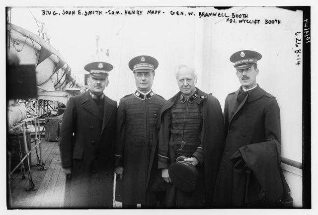 Brig. Gen. John E. Smith, Com. Henry Mapp, Gen. W. Bramwell Booth, & Adm. Wycliff Booth