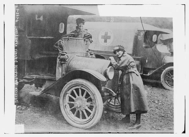 British ambulance drivers near front