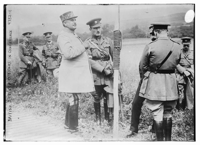 British & French officers in conference