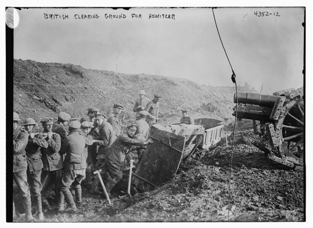 British clearing ground for Howitzer