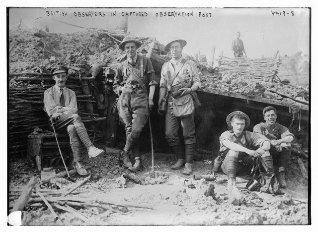 British observers in captured observation post