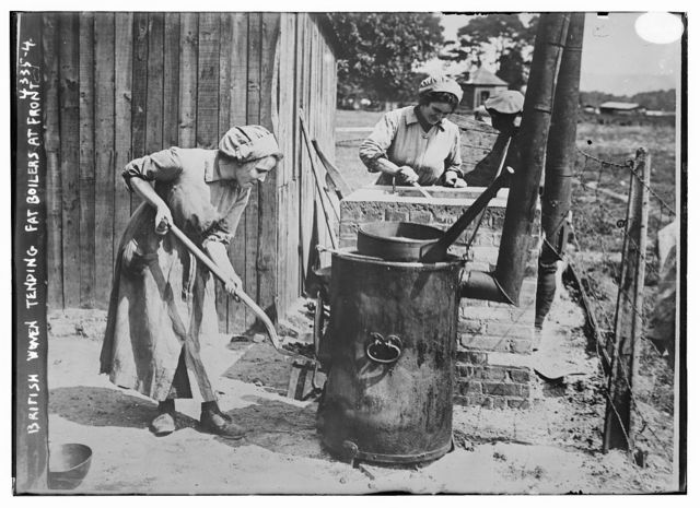 British women tending fat boilers at front