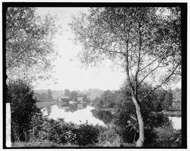 [Buildings by river, probably the Huron River, Ypsilanti, Michigan]