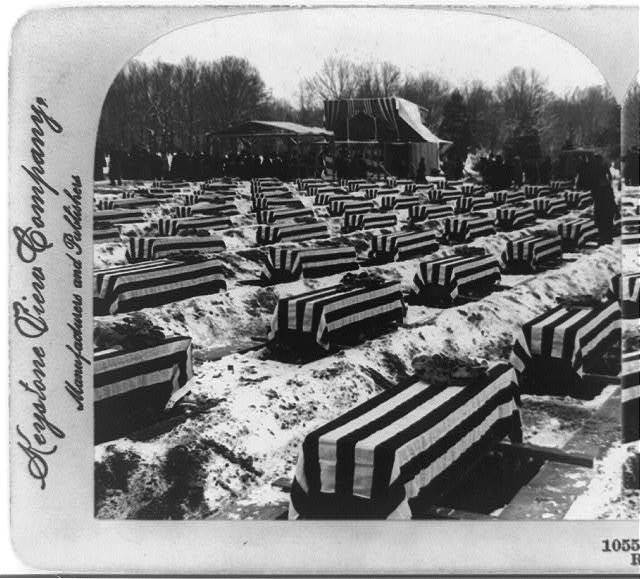 Burial of the victims of the Maine in their final resting place, Arlington Cemetery, Va., Dec. 28, 1899