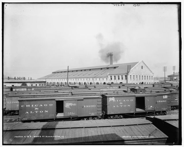 C. & A. [Chicago and Alton Railroad] shops at Bloomington, Ill.