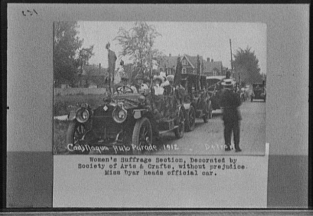 Cadillaqua auto parade, 1912, women's suffrage section