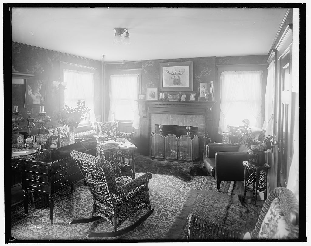 [Calloway residence, interior, chair in center, Mamaroneck, N.Y.]