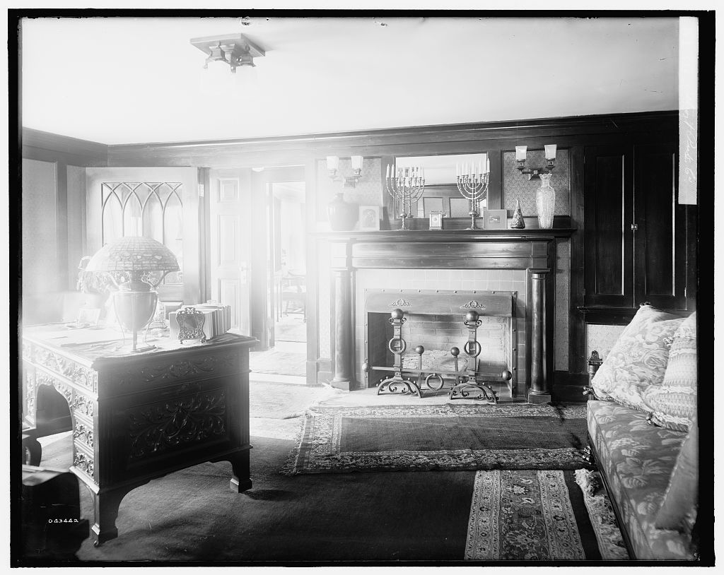 [Calloway residence, interior, desk and mantle, Mamaroneck, N.Y.]