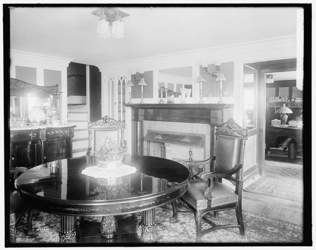 [Calloway residence, interior, round table, Mamaroneck, N.Y.]