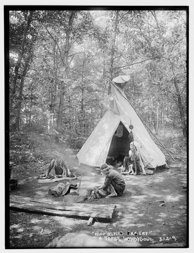 Camp Flying Eagles: Wyndygoul, a Teepee and Indians