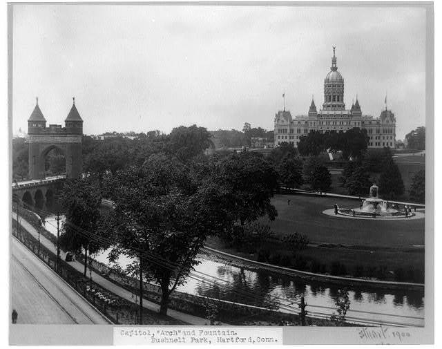 Capitol, arch and fountain, Bushnell Park, Hartford, Conn.