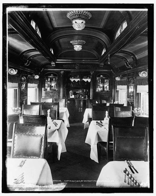 [Car interiors, dining car, Chicago and Alton Railroad]
