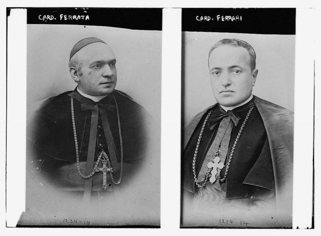 Cardinal Ferrata, r, Cardinal Ferrari, l