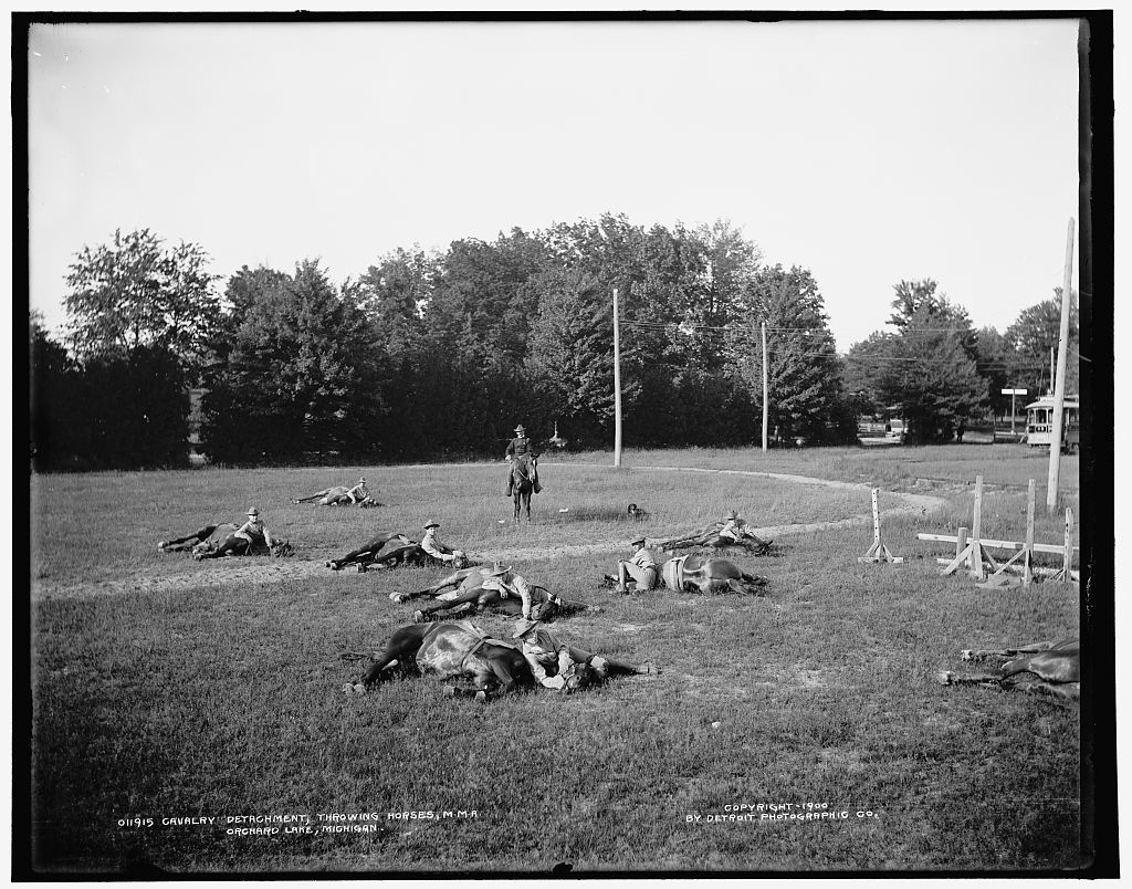 Cavalry detachment, throwing horses, M.M.A., Orchard Lake, Michigan