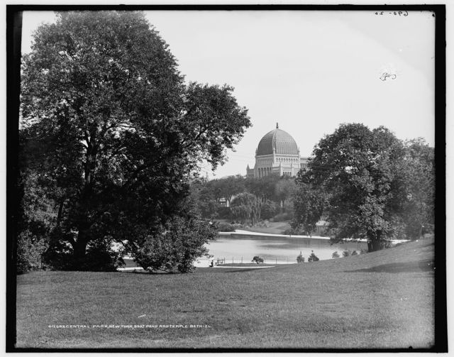 Central Park, New York, boat pond and Temple Beth-El