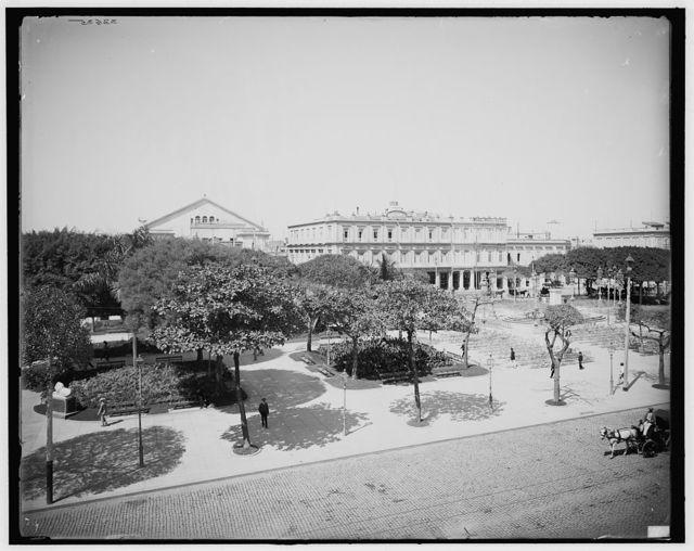 [Central Park, Teatro Nacional and Inglaterra Hotel, Havana, Cuba]