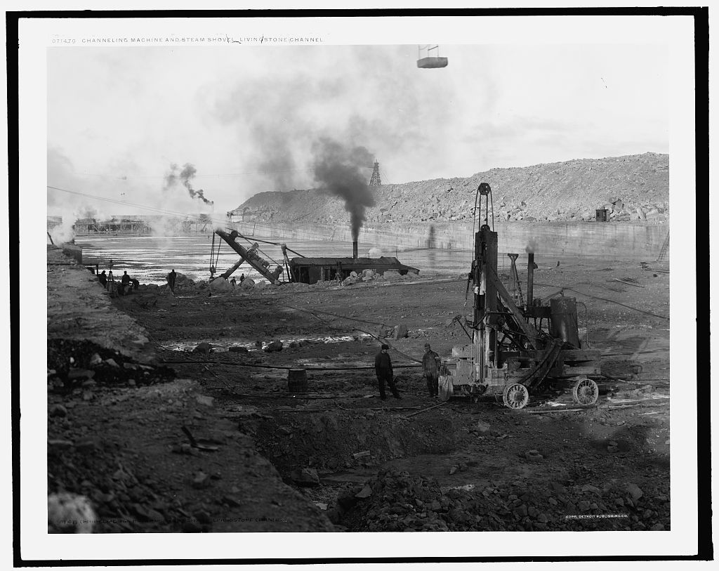 Channeling machine and steam shovel, Livingstone Channel