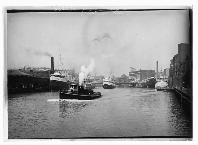 [Chicago River scene with steamboat and industrial waterfront, Chicago]