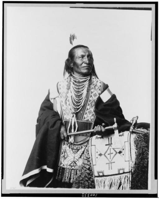 [Chief Red Fox, Sioux(?) Indian, three-quarter length portrait, standing, facing right, holding tomahawk]