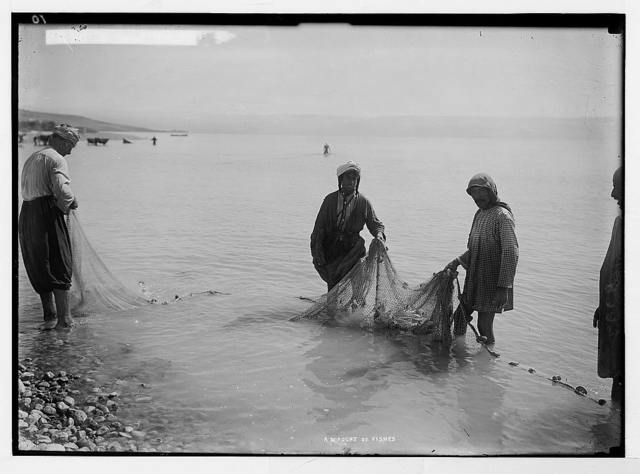 """Choice set of thirteen slides, illustrating the Sea of Galilee and its fishermen still """"toiling with their nets."""" A """"great multitude of fishes"""""""