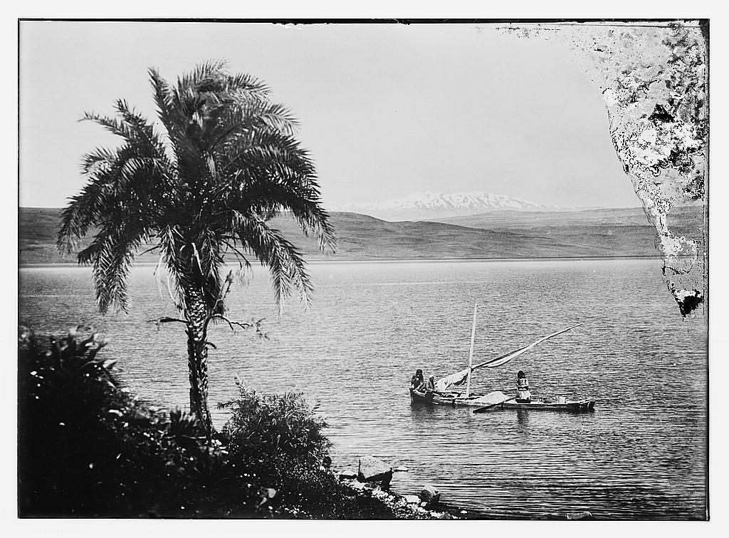 "Choice set of thirteen slides, illustrating the Sea of Galilee and its fishermen still ""toiling with their nets."" Sea of Galilee and Mt. Hermon, Mt. of Transfiguration"