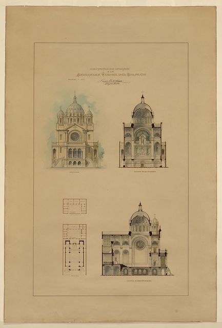 [Church of Santisima Virgen del Consuelo. Elevation, plan, transverse section, and longitudinal section] / Luis G. Ohera, arquitecto.