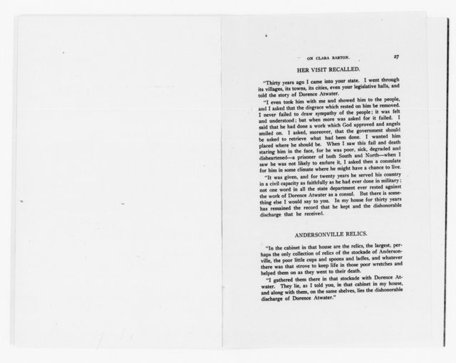 Clara Barton Papers: Miscellany, 1856-1957; Memorials and tributes, 1900-1936, undated