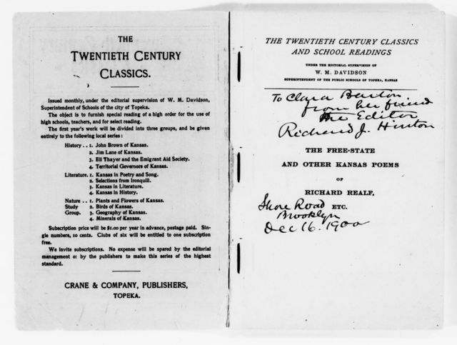 Clara Barton Papers: Miscellany, 1856-1957; Printed matter; 1900-1952