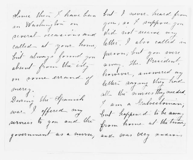 Clara Barton Papers: Red Cross File, 1863-1957; American National Red Cross, 1878-1957; Relief operations; Galveston, Tex.; Volunteers, 1900