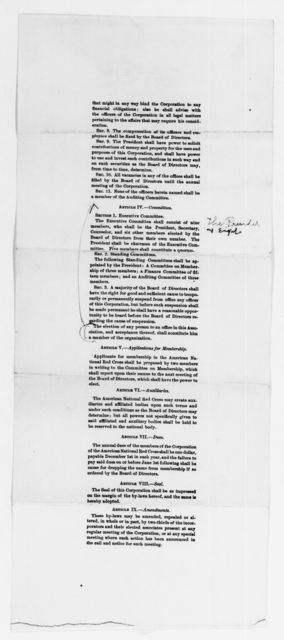 Clara Barton Papers: Red Cross File, 1863-1957; American National Red Cross, 1878-1957; Incorporation; National incorporation and insignia protection; Charter and bylaws, 1900-1903, undated