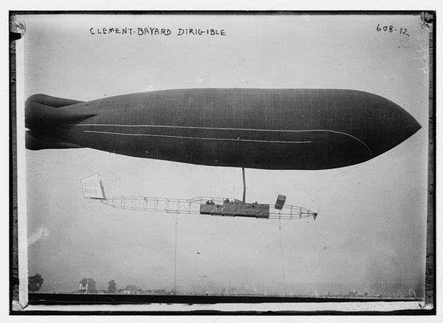 Clement-Bayard dirigible in flight, France