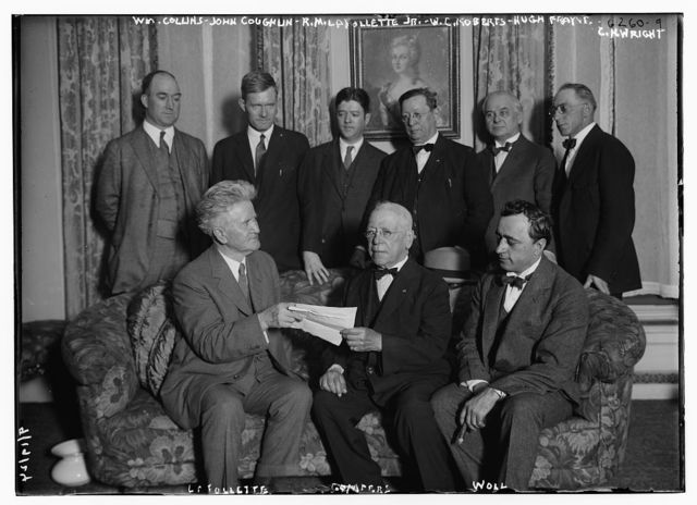 Collins, Coughlin, LaFollette Jr., Roberts, Frayre, Wright, LaFollette Sr., Gompers & Woll