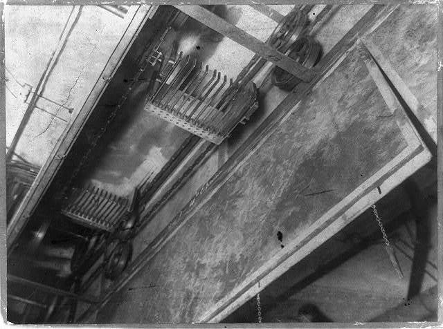 [Conveyor? in the Library of Congress, in Capitol, pre-1900]