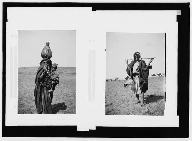 Costumes, characters, etc. Bedouin woman carrying baby and water jar ; Bedouin shepherd boy of Beersheba