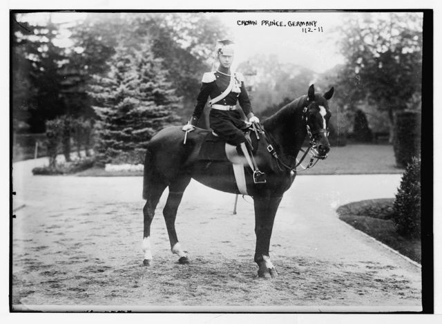Crown Prince of Germany, on horse, in uniform