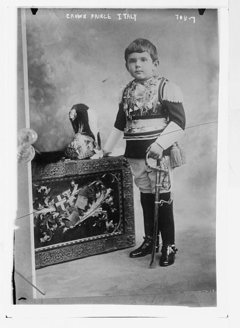 Crown Prince of Italy, with sword, in uniform