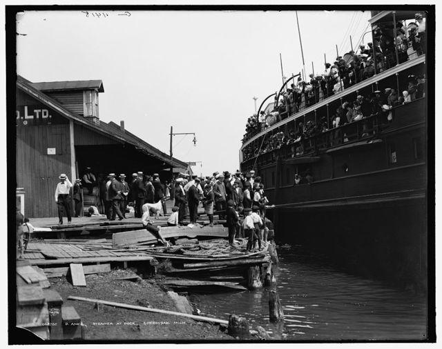 D. & C. [Detroit & Cleveland Navigation Co.] steamer at dock, Cheboygan, Mich.