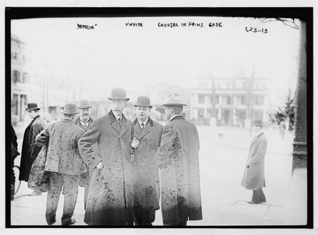 Darrin and White, counsel in Hains case, outside courthouse, Flushing, N.Y.