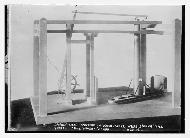 """Darwin-Coxe Machine, in which insane were swung until quiet, """"Fool Tower"""", Vienna"""