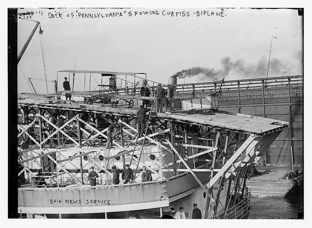 "Deck of ""Pennsylvania"" showing Curtiss biplane"