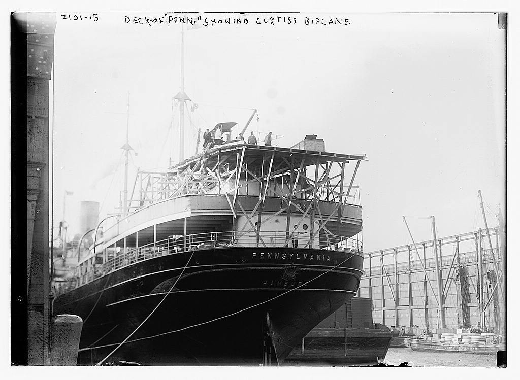 """Deck of """"Pennsylvania"""" showing the Curtiss biplane"""