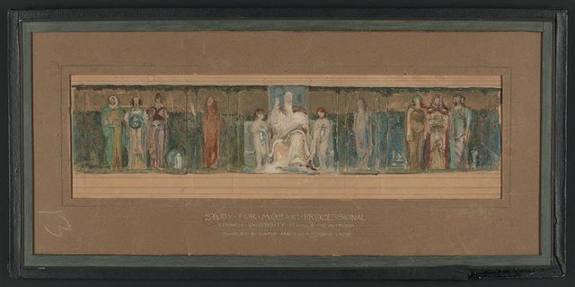 [Design drawing for mosaic processional of the arts, sciences, etc., for Cornell University's Sage Chapel in Ithaca, New York]