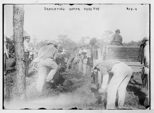 Diggers at dedication of motor parkway