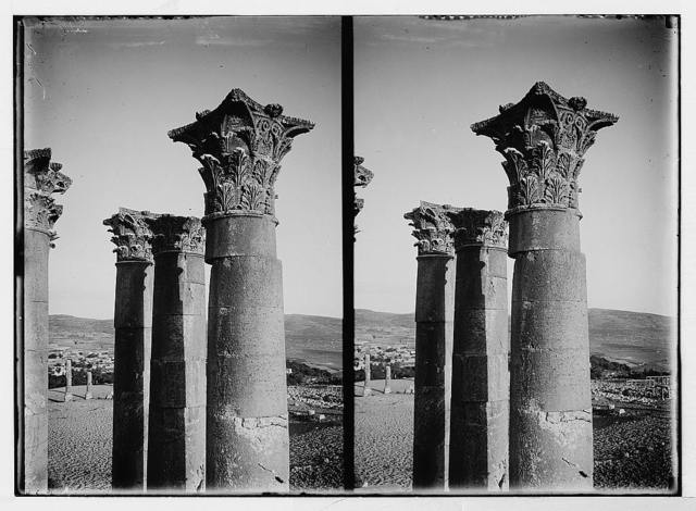 East of the Jordan and Dead Sea. Corinthian capitals of the Temple of the Sun [Jerash]